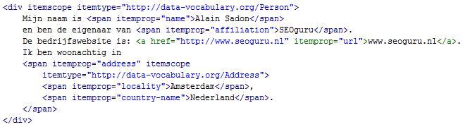 Voorbeeld microdata