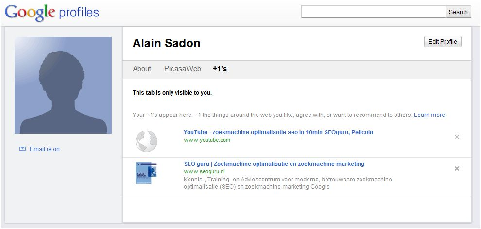 Google plus one profile alain sadon