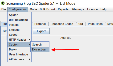 custom extraction screaming frog seo spider