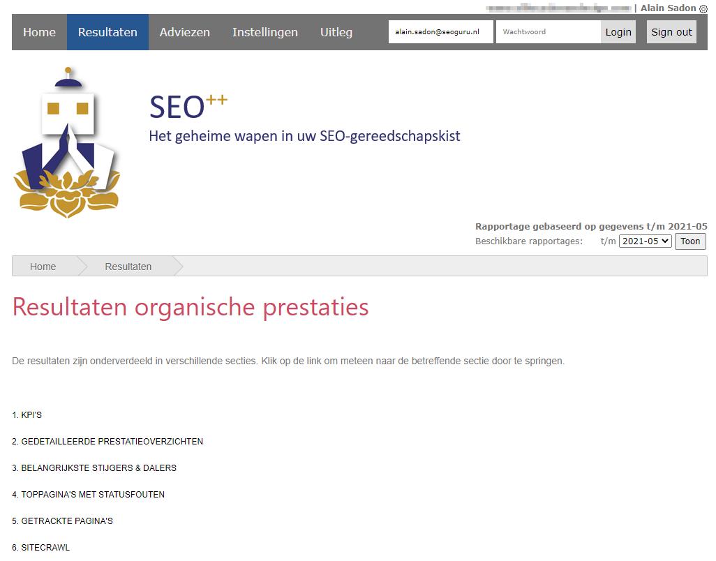 Het online dashboard van het SEO++ systeem : resultaten SEO analyse site