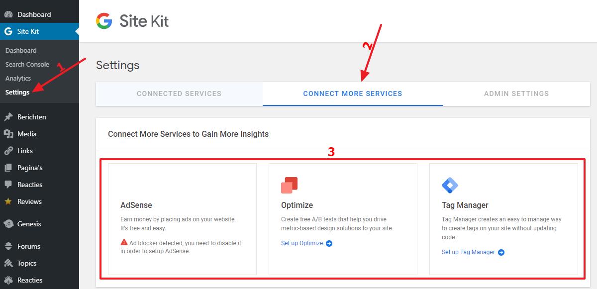 Aanvullende services koppelen aan Site Kit